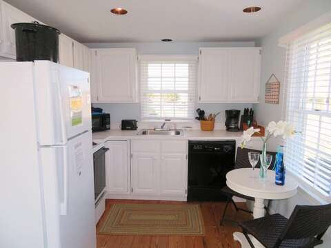 Fully equipped kitchen with dishwasher and small eat in table- 46 Little Beach Road Chatham Cape Cod New England Vacation Rentals