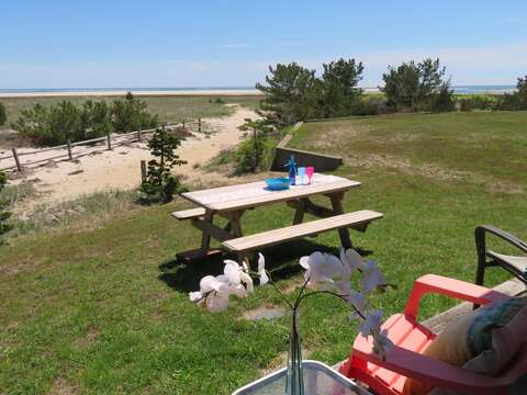 Enjoy dining by the sea- outdoor furniture and gas grill- 47 Little Beach Road Chatham Cape Cod New England Vacation Rentals