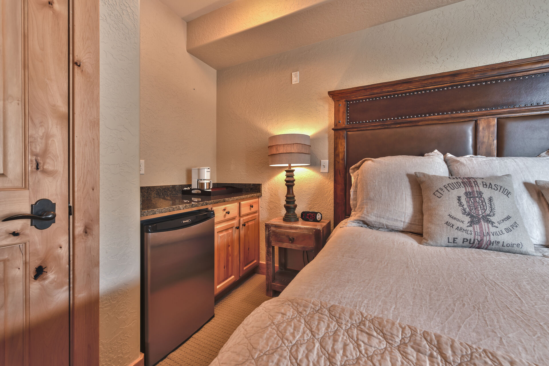 Master Bedroom Kitchenette with Coffee Maker and Mini Fridge