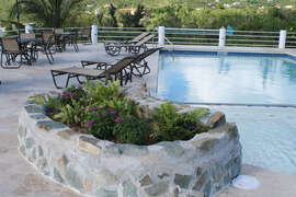 Planter and Fountain on pool deck