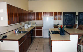 Kitchen in this eco friendly home in Coral Bay