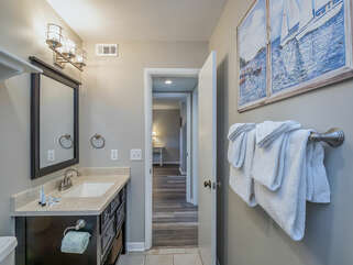 The shower/tub bath is also accessible from the hall.
