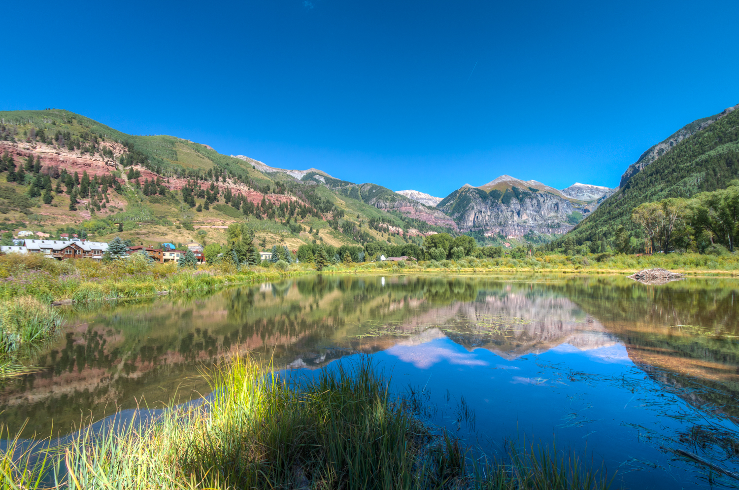 Beaver Pond view of mountain landscape with grass