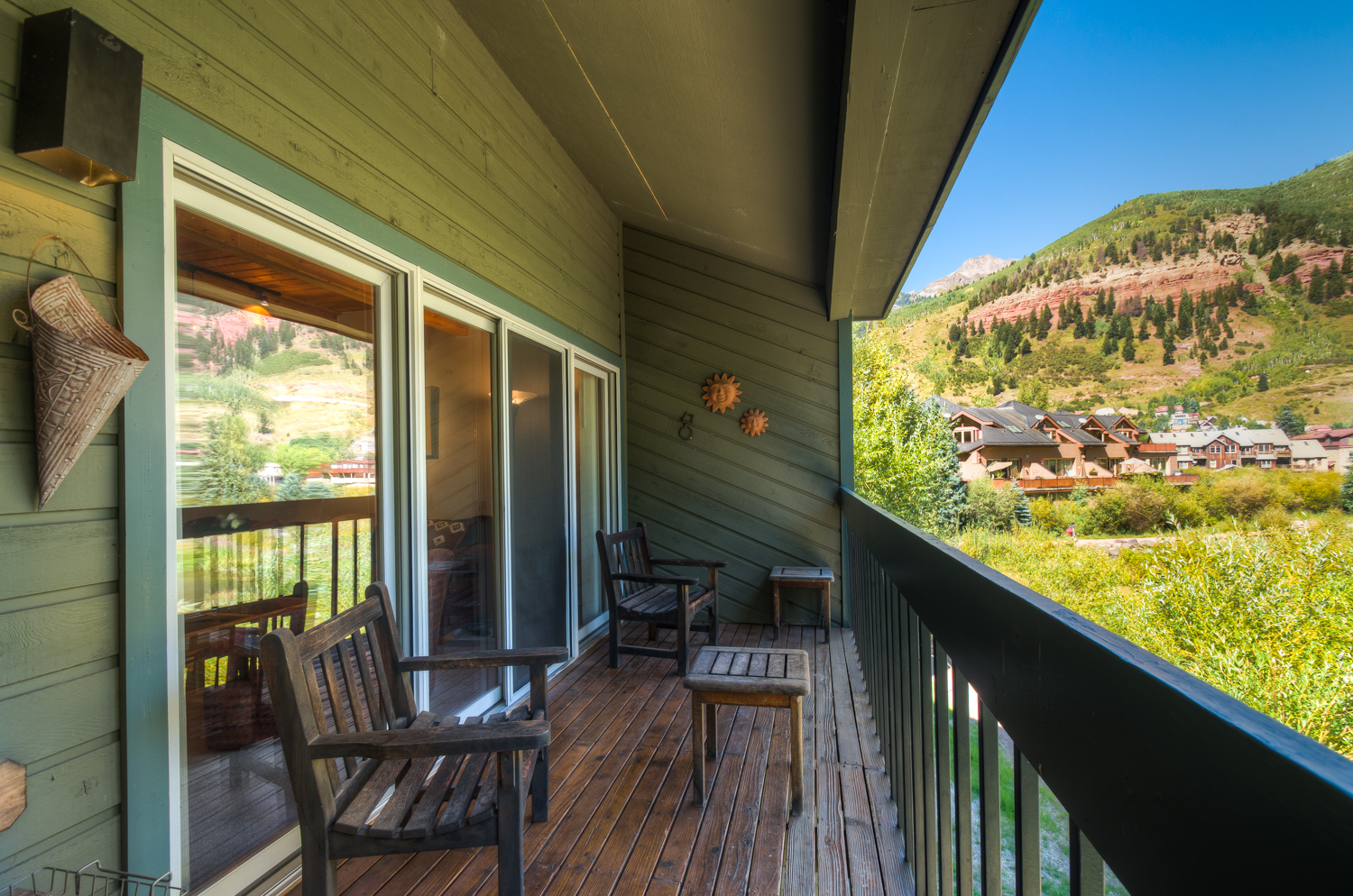 Wood deck with mountain view