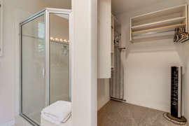 Large closet space in en suite bathroom off master bedroom.