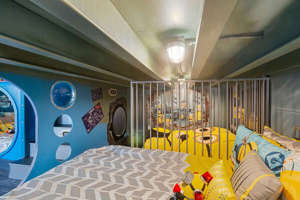 Sleep in the minion prison or escape in the secret passage way connecting the beds