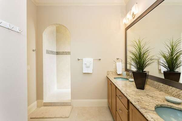 Master bedroom en suite bathroom with a walk-in shower