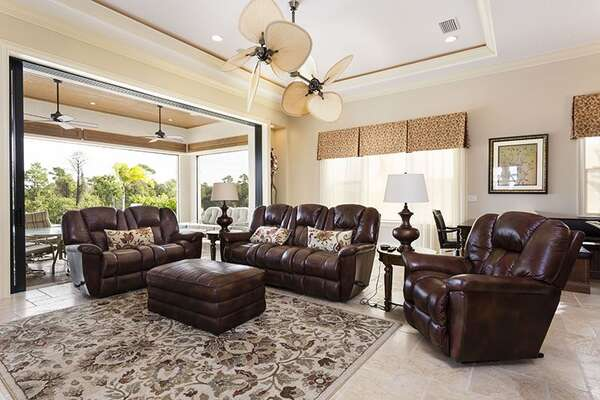 Sit back and relax in your lush leather sofas