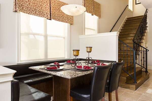 Custom built eat in seating area for you and your family