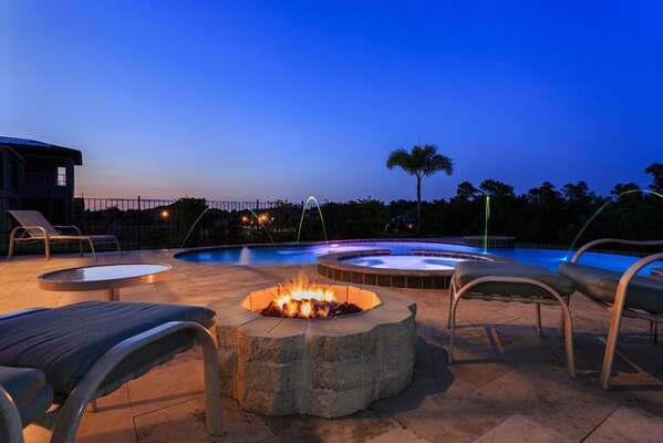 Splash around in your private pool or enjoy an evening out by the firepit