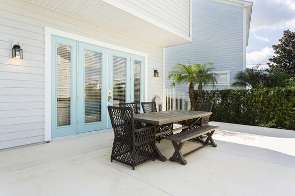 Outdoor dining area offers the perfect setting for dining alfresco