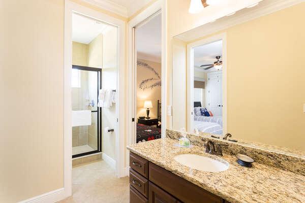 Jack-N-Jill bathroom that joins both upstairs kids rooms