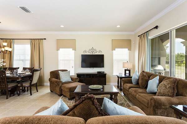 Sit and relax while taking in a show on the flat screen TV