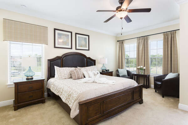 Comfortable and stylish upstairs King bedroom with Ensuite bath