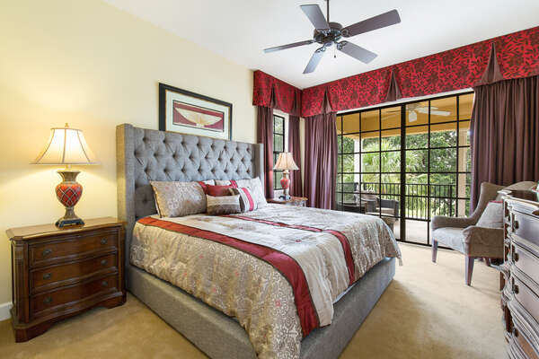 Spacious upstairs master suite with rich colors