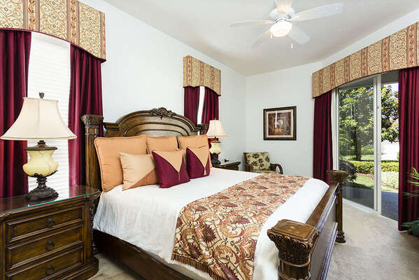 Ground floor master has a luxury king bed with pillow top mattress,