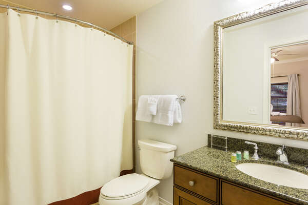 Shared Family bath with access to third bedroom