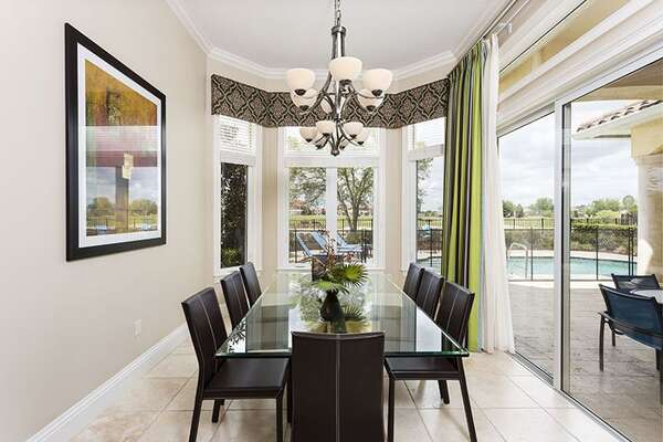 Fine dining area with seating for 8