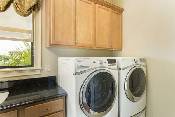 Your own laundry room, no need to take dirty clothes home with you
