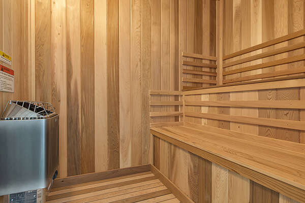 Sit and enjoy your own private sauna room