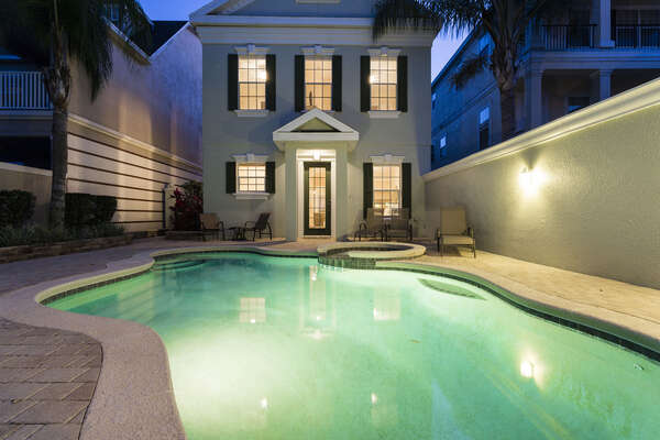 Enjoy a twilight swim with the family in your vacation home