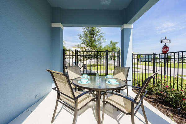 Outdoor dining area with seating for 4