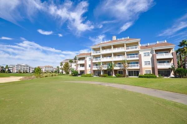 The rear of the condo overlooking the golf course