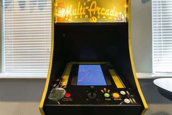 Play a variety of arcade games in this fun games room.