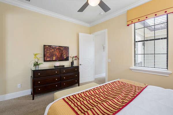 This bedroom has an en-suite bathroom and 42-inch TV.