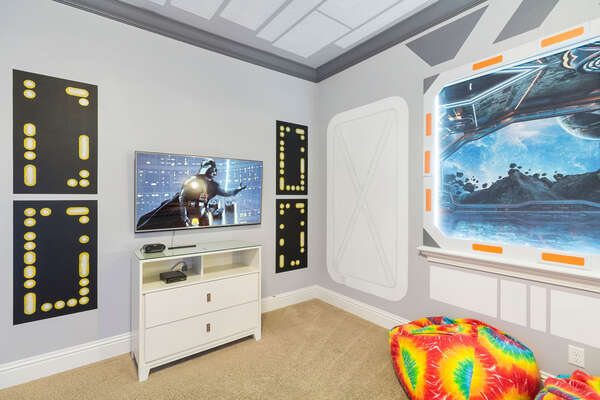 Watch TV from your bed in this kids bedroom