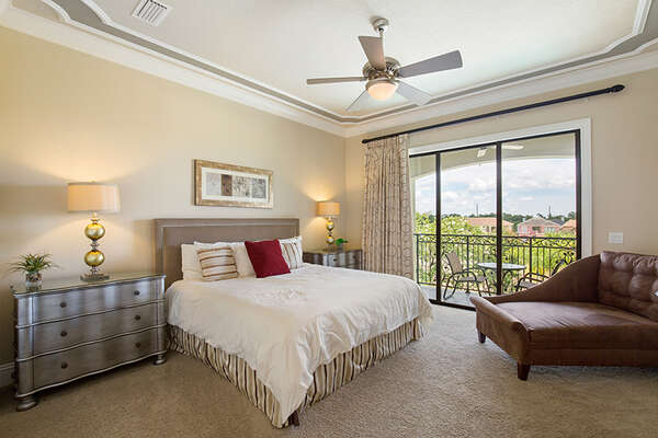 Upstairs master bedroom with private balcony