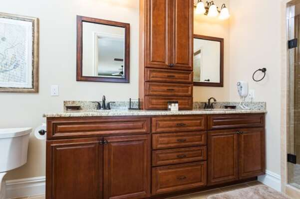 Master bathroom 3 features double sinks and extra cabinet space