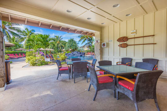 Big Porch with Outdoor Dining Sets by the Pool.