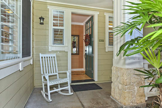 Entry to our Ko Olina Condo Rental with Rocking Chair.