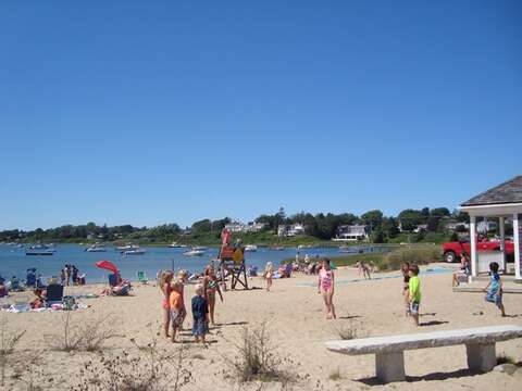 Bike over to Oyster Pond- bathhouse and great children's beach (salt water)- Chatham Cape Cod New England Vacation Rentals