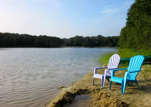 small deeded access beach area- sit and enjoy the day or watch the sun set over the pond.- Chatham Cape Cod New England Vacation Rentals