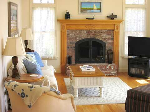 Living room with flat Screen TV and doors to deck - 151 Sky Way Chatham Cape Cod New England Vacation Rentals