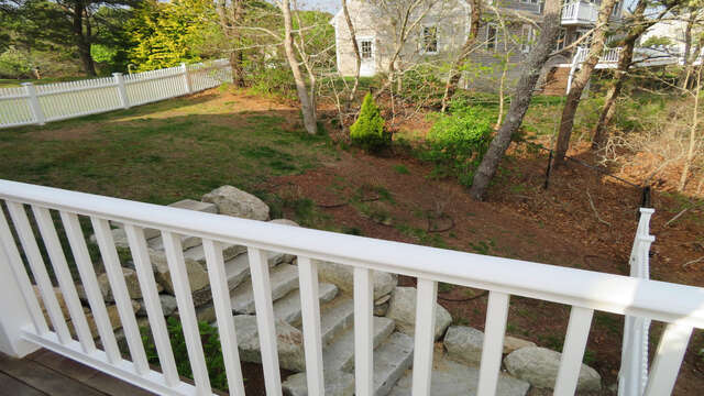 Fenced yard just off deck-151 Sky Way Chatham Cape Cod New England Vacation Rentals