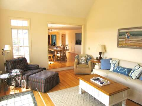 living room looking toward dining area - 151 Sky Way Chatham Cape Cod New England Vacation Rentals