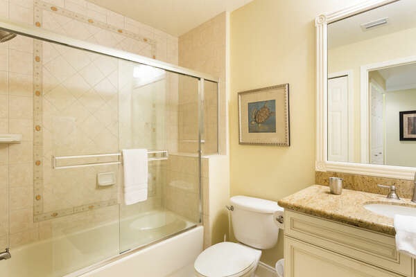 The family bathrooms have dual sinks and a walk-in shower