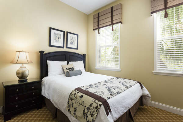 One of the three bedrooms offers a single full-sized bed