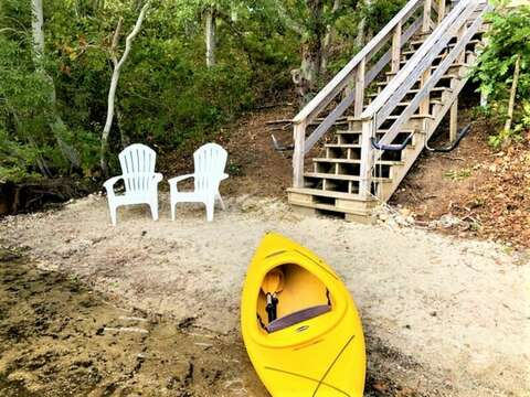 Private beach and Kayak for your use. Water level may vary depending on the amount of rain we get. 151 Sky Way Chatham Cape Cod New England Vacation Rentals