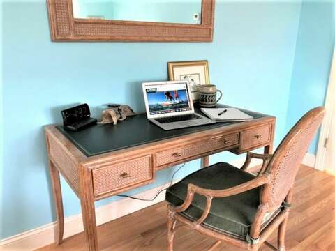 Work or remote learn at this lovely desk in the Master Bedroom. 151 Sky Way Chatham Cape Cod New England Vacation Rentals