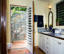 Master bathroom with double sinks and alfresco shower