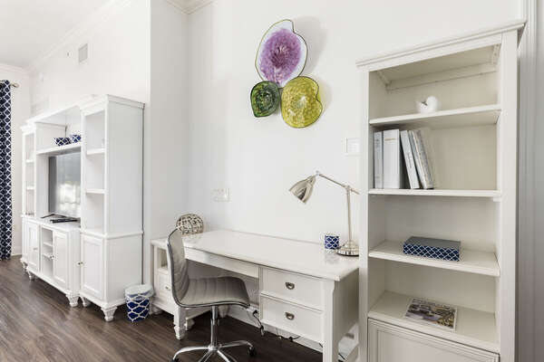Desk space in the open living area