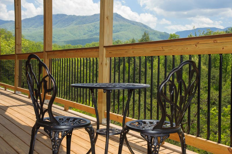 Image of a Table for Two on Outdoor Deck.