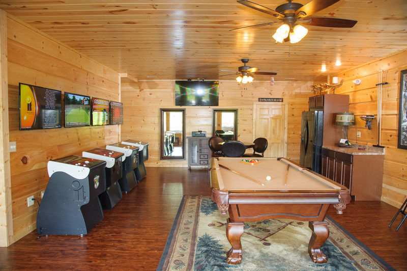 Image of Wooden Pool Table in Game Room.