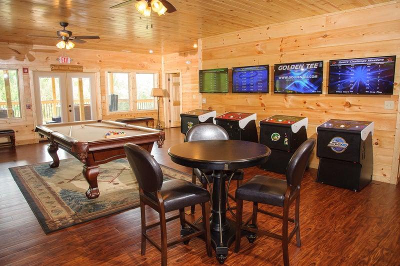 Image of Game Room in the Luxury Cabin Rental in Gatlinburg TN.