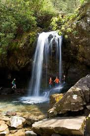 Image of the Beautiful Grotto Falls.