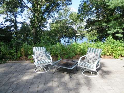 Sit by the fire pit in the evening and sip your favorite libation as the sun sets over the lake - 21 Beechwood Road Centerville Cape Cod New England Vacation Rentals